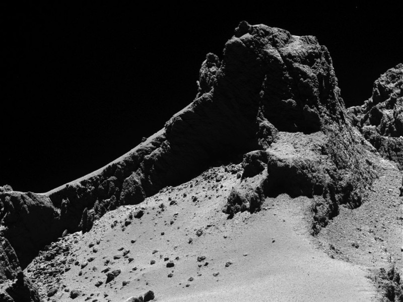 Comet 67P Churyumov-Gerasimenko as seen on 14 October 2014 by the Rosetta Space Probe from a distance of only 8 km