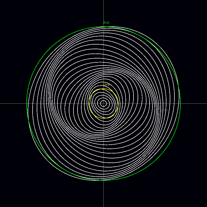 Orbits of a galaxy similar to those predicted by the density wave theory.